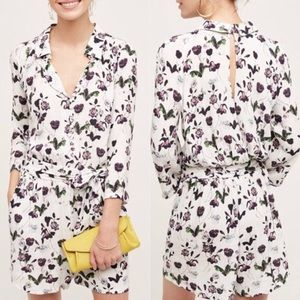 Anthropologie floral open back romper